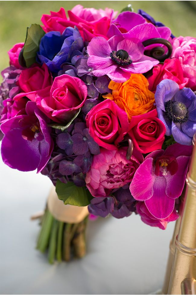 radiant orchid and jewel tones via StyleUnveiled.com / Stephanie Hogue Photography / Vintage Broach Wedding / Jewel Tones