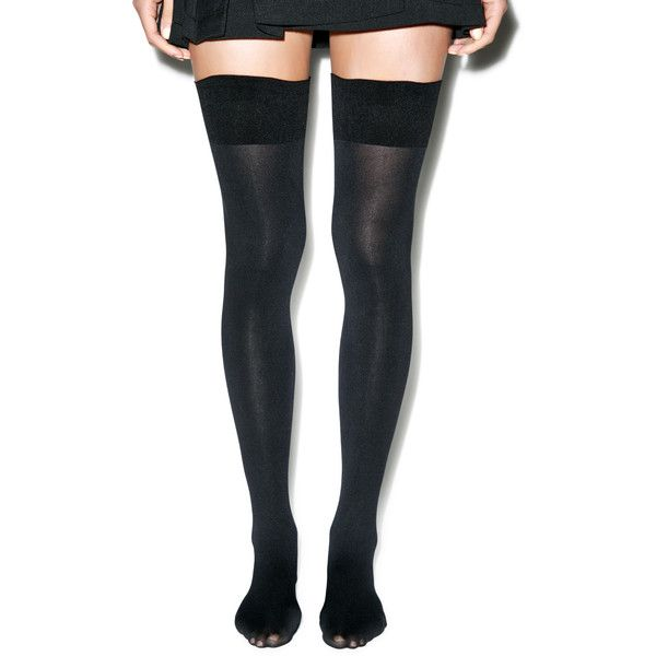 Pretty Polly 80 Denier Thigh Highs ($24) ❤ liked on Polyvore featuring intimates, hosiery, socks, black, tights, thigh high hosiery, elastic socks, thigh high socks, black thigh-high socks and pretty polly