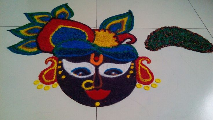 Diwali Rangoli.. #govardhan pooja #thakurji #krishna