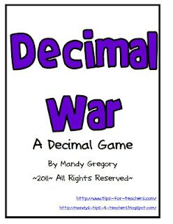 Guided Math: Decimal War Card Game - Free TPT Download