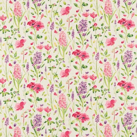 Sanderson Spring Flowers Fabric DOPS222397 Designer Fabrics and Wallpapers by Sanderson, Harlequin, Morris, Osborne, Little And many more