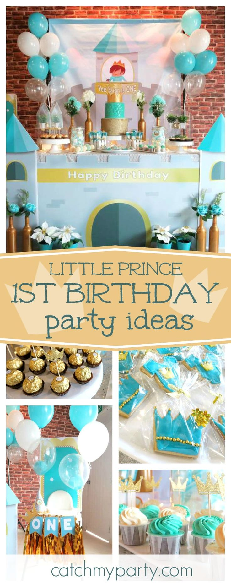 Check out this awesome Little Prince 1st Birthday. The castle decorated dessert table is incredible!! See more party ideas and share yours at CatchMyParty.com