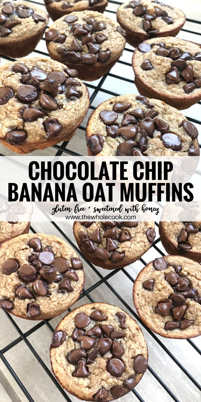 These chocolate chip banana oat muffins taste like a decadent banana bread. You won't believe they contain no sugar, flour, or dairy!