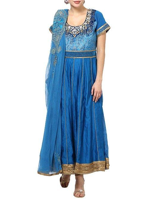 Shop Blue Cotton Silk Anarkali Suit Set online at Biba.in - SKD3654BLU