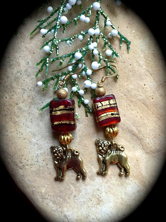 RED and GOLD STRIPE Pug Rescue Earrings-Red by WhimsicalMystical