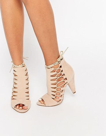 Nude ghillie shoe boot by Public Desire. Shoes by Public Desire Faux-suede upper Cut-out sides Lace-up fastening Ties at the leg Peep toe ...