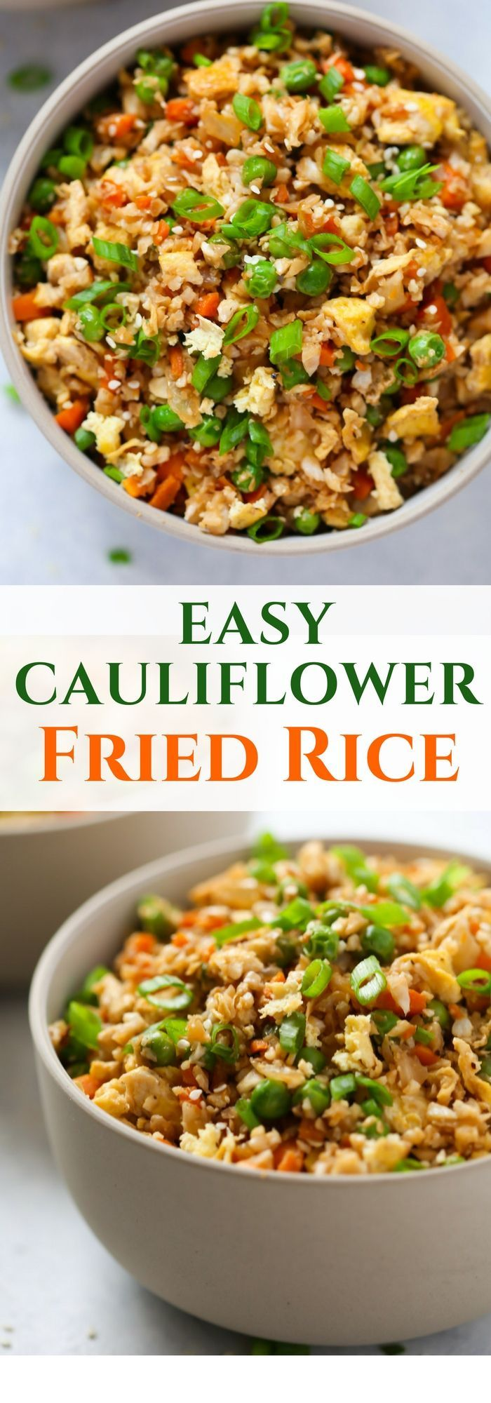 This Easy Cauliflower Fried Rice recipe is ready in less than 20 minutes and it's loaded with veggies such as cauliflower, onions, carrots and green peas. Also it's low-carb, gluten-free, vegetarian and it can be vegan too if you replace eggs for tofu.