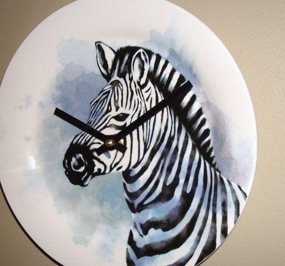 NEW  Zebra Wall Clock 9 Inches SILENT Nursery by makingtimetc