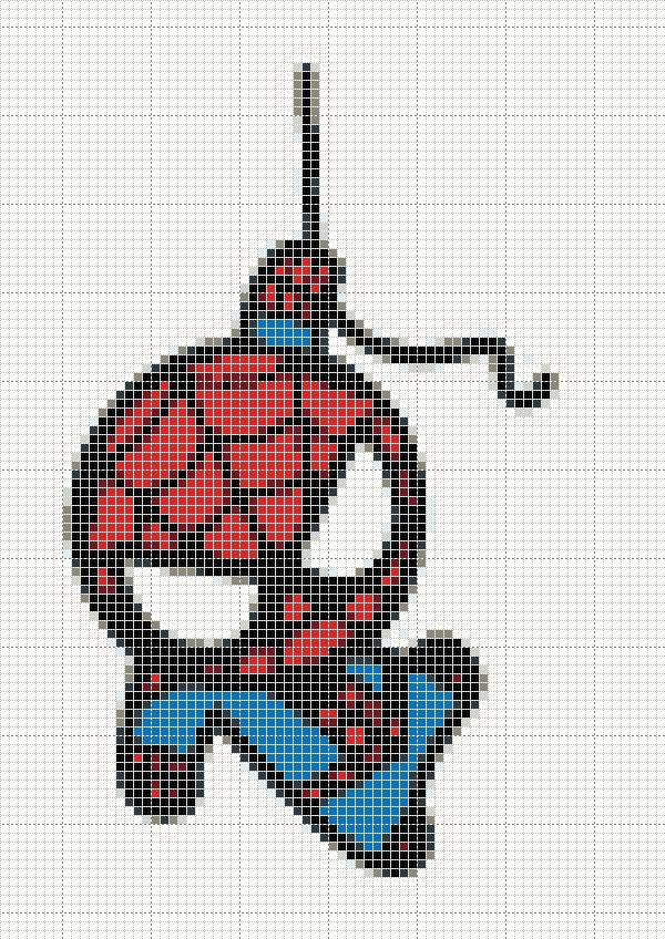 cross stitch pattern I found on deviant art (lost link).....adorable chibi spiderman