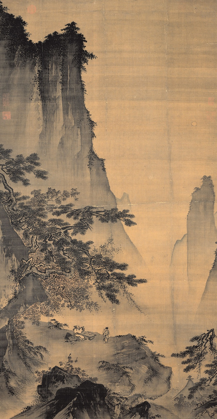 """Facing the Moon (對月圖) Ma Yuan (馬遠, c.1160-1225), Song Dynasty (960-1279)  Hanging scroll, ink and light color on silk, 149.7 x 78.2 cm, National Palace Museum, Taipei         This painting describes an autumn night on an overhanging cliff with the moon bright and suspended above. A scholar sits on a rock and holds a cup to the moon. A servant boy waits by his side with a goblet, the subject of this work derived from """"Drinking Alone Under the Moon"""" by the Tang poet Li Bai (李白, 701-762)."""