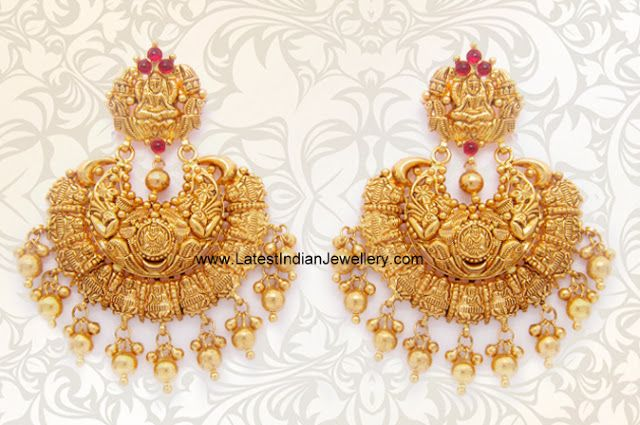 Gold Lakshmi Chandbali Earrings