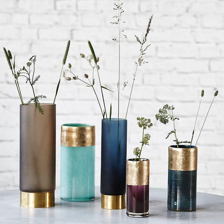 Base vas 24cm, mörkblå/guld – House Doctor – Köp online på Rum21.se