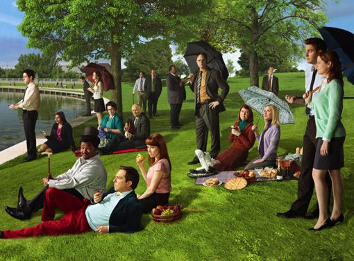 "The cast of The Office re-interpreting the Georges Seurat painting ""A Sunday Afternoon on the Island of La Grande Jatte."""