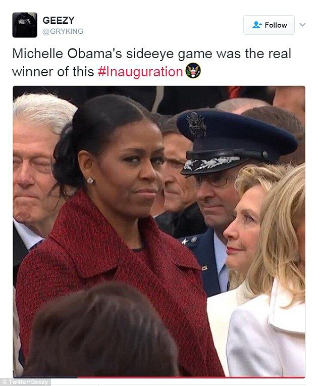 'Michelle Obama's side-eye game was the real winner of this #Inauguration,' one user tweeted with a photo of Mrs Obama and Hillary Clinton standing next to each other