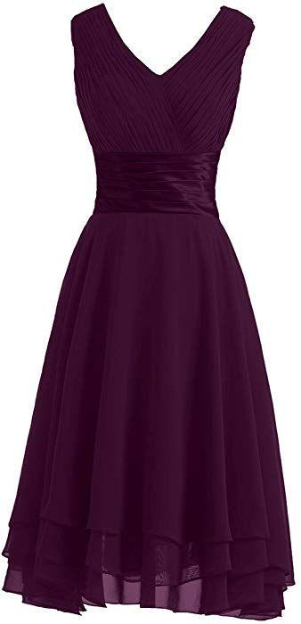 Victory Bridal Einfach V-Ausschnitt Hi-Lo mit Falten Knielang Abendkleider  Kurz Chiffon Tanzkleider 3de9f5aaaf