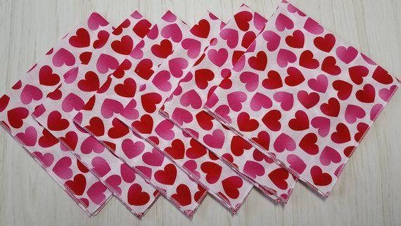White Heart Napkins Heart Napkins Pink Heart Napkins Embossed Valentines Day Napkins Red Heart Napkins