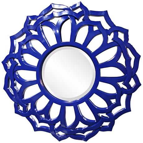 """Casey 32"""" Wide Royal Blue Wall Mirror"""