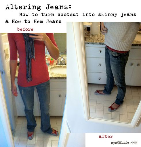 Altering JeansA Mini-Saia Jeans, Sewing Machines, Flare Jeans, Cut Jeans, Skinny Jeans, Hem Jeans, Altered Jeans, Hemmings Jeans, Flared Jeans