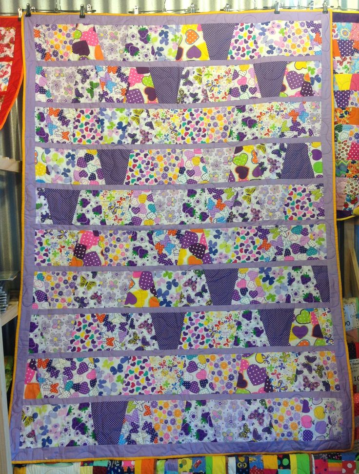 Garden – Bright Lavender/Purple – Yellow Edging – Large Play Quilt 51 x 70 Inch Size