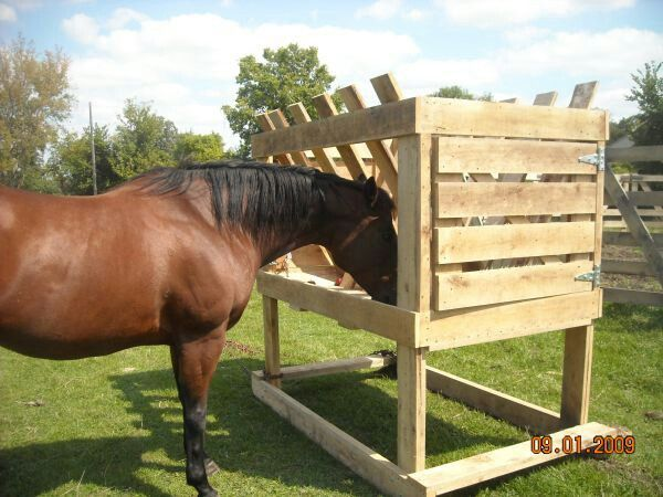 DIY Feeder for Horses.  Doesn't look too difficult to make, and I'd probably add some type of covering on top.