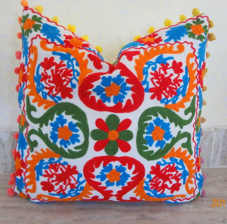 "Suzani Embroidered Cushion Cover 16x16"" Home Decorative Pillow Sofa Decor Boho Bohemian Designer White Base Multi Colour Wool Embroidered by ArtofPinkcity on Etsy"