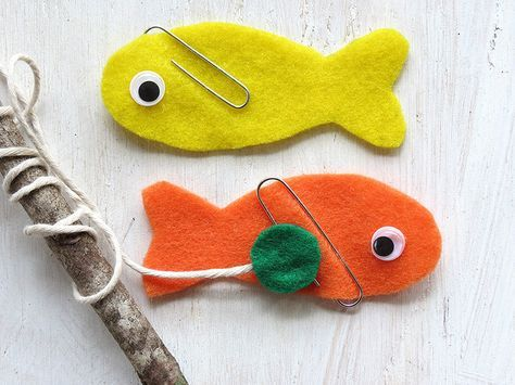 Super cute kids' game! make felt fish with paper clip fins and go fishing for them with a magnet attached to a stick as a pole!