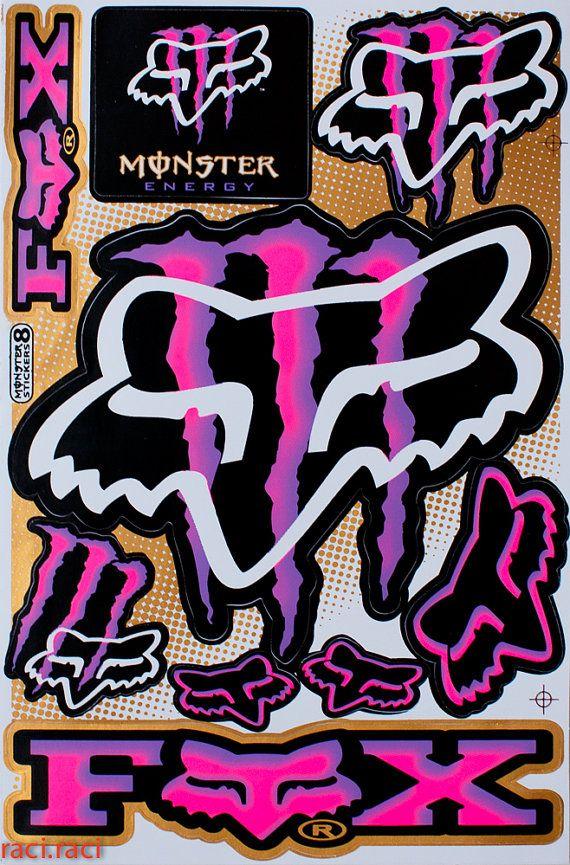 Pink Purple Monster Energy Claws Sticker Decal Supercross Motocross Bike ATV BMX Racing Skateboard Helmut F2