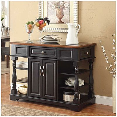 Black 2 Door Kitchen Cart With Open Shelves At Big Lots For 349 99 I