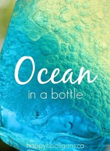1/3 full water, blue food coloring, and veggie oil. Ocean in a bottle!