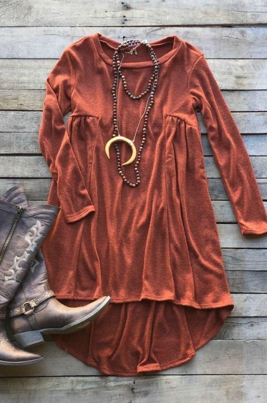 Break My Heart Again Tunic Dress- Rust $34.99! #rust #fall #fallfashion #must have #southernfriedchics