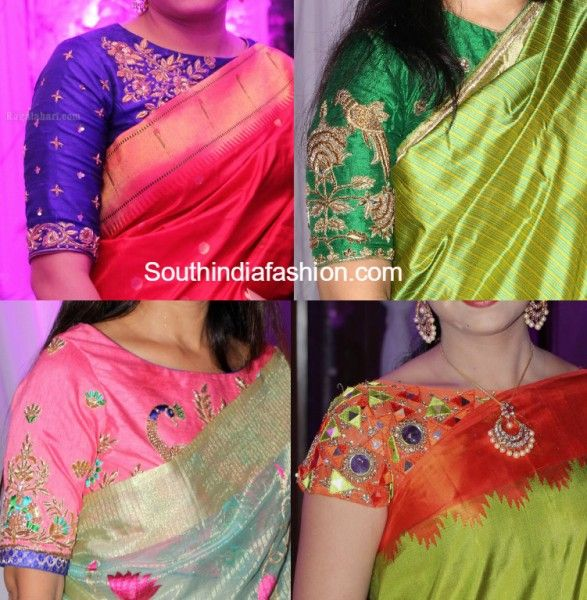Simple Boat Neck Maggam Work Blouse Designs for Silk Sarees photo