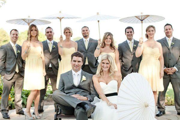 Groupe de mariée et marié
