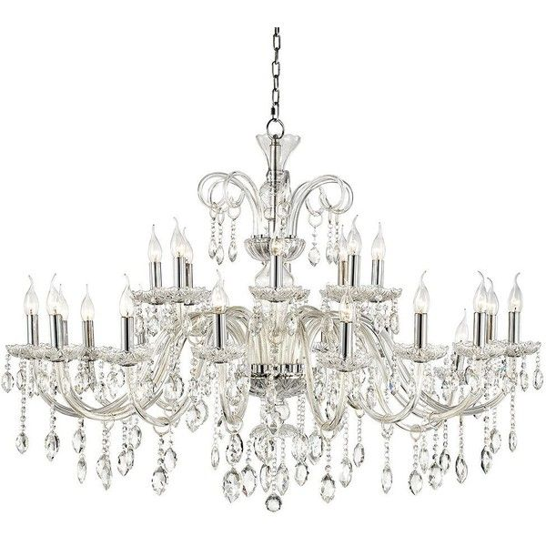 "Chrome Accent 49"" Wide 24-Light Crystal Chandelier (€895) ❤ liked on Polyvore featuring home, lighting, ceiling lights, chandeliers, crystal chandelier lighting, chrome light, crystal lighting, crystal chandelier lamp and crystal ceiling lights"
