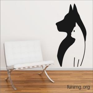 Трафарет кошки для стен   Магазин, где можно заказать и купить наклейки и трафареты для декора стен