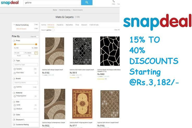 Shop with us in #snapdeal and get upto 40% off. Discounts are available on Our every #carpet designs.  Also check out our #Doormat at very attractive price. Follow the image below.
