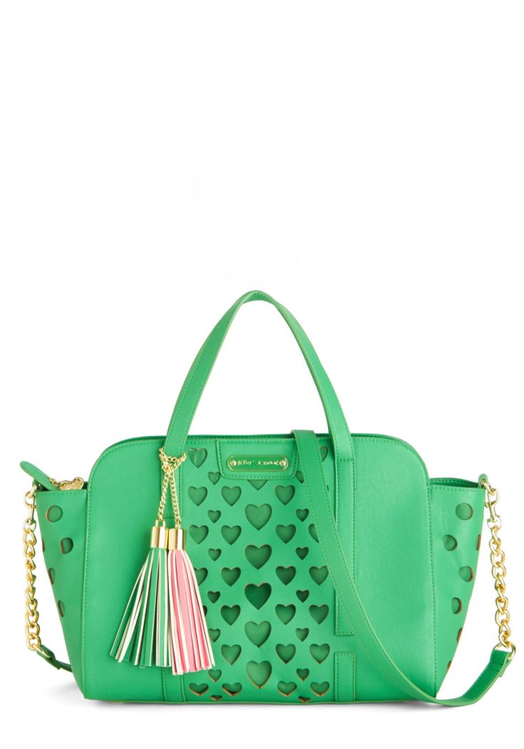 Betsey Johnson Green with Love Bag. This sassy, kelly-green bag by Betsey Johnson adds quite a punch to your work ensemble. #green #modcloth