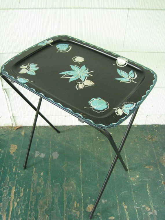 1950u0027s Black And Turquoise Cal Dak Standing TV Trays Set Of 2