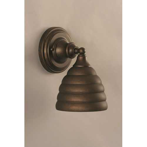 Bronze Wall Sconce With Beehive Metal Shade Toltec Lighting 1 Light Armed Glass Sconc