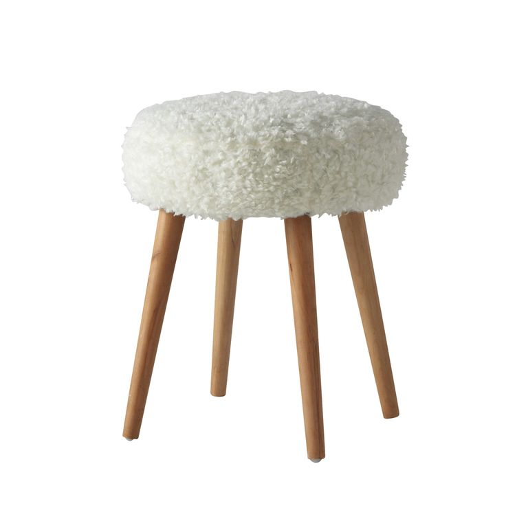 Tabouret en fausse fourrure et bois blanc H 45 cm PIN'UP - Maisons du Monde