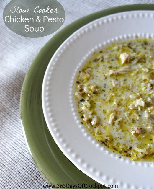 Slow cooker recipe for chicken and pesto soup.  #crockpot #slowcooker #soup