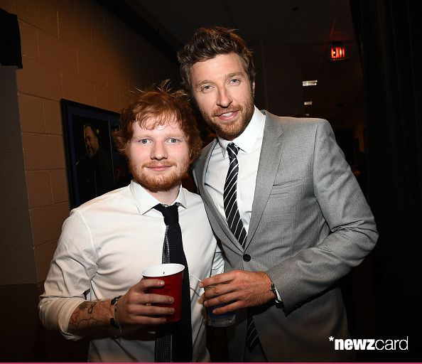 Recording artists Ed Sheeran (L) and Brett Eldredge attended the 2015 Billboard Music Awards at MGM Grand Garden Arena on May 17, 2015 in Las Vegas, Nevada.