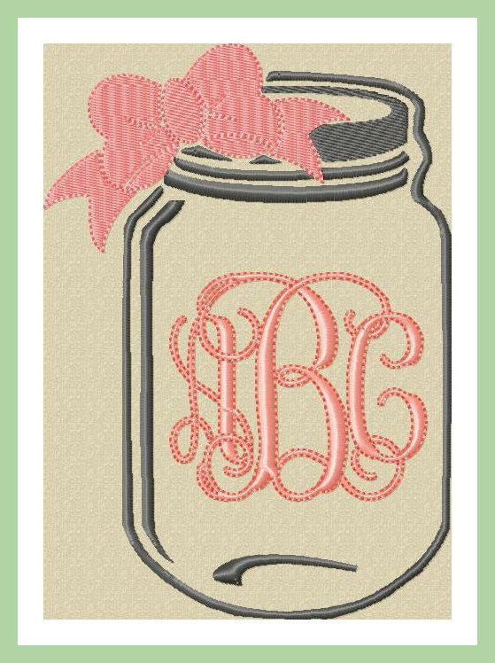 Machine Embroidery Design - Mason Jar Monogram Frame by BlingSassSparkle on Etsy https://www.etsy.com/listing/255475853/machine-embroidery-design-mason-jar