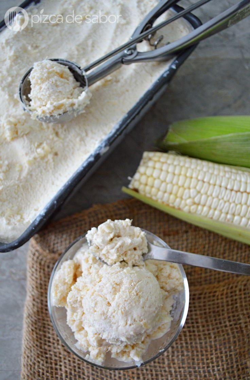 Helado de elote estilo pan de elote (maíz - choclo) www.pizcadesabor.com