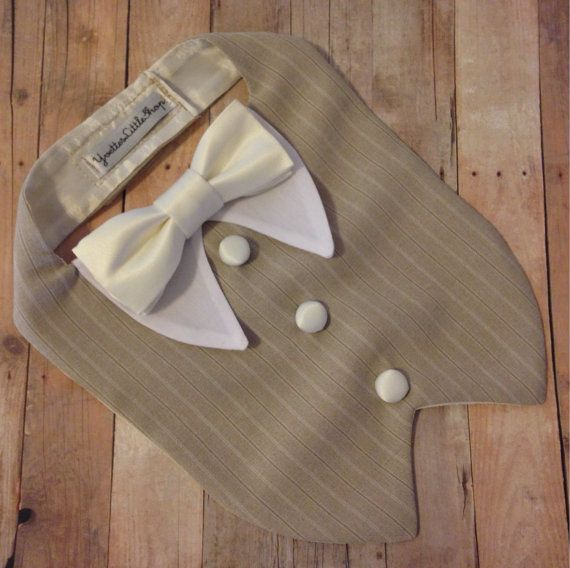 Vanilla Beige Dog Tuxedo Bib custom color bow by YvettesLittleShop