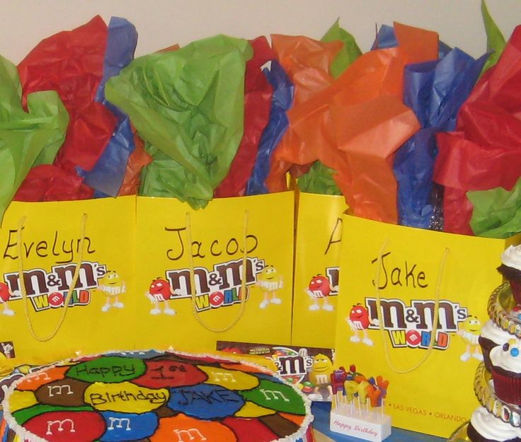 This M&M theme 1st Birthday was full of colour and yummy chocolate. These Loot Bags had ceramic Red M&M candy jars for all the kids