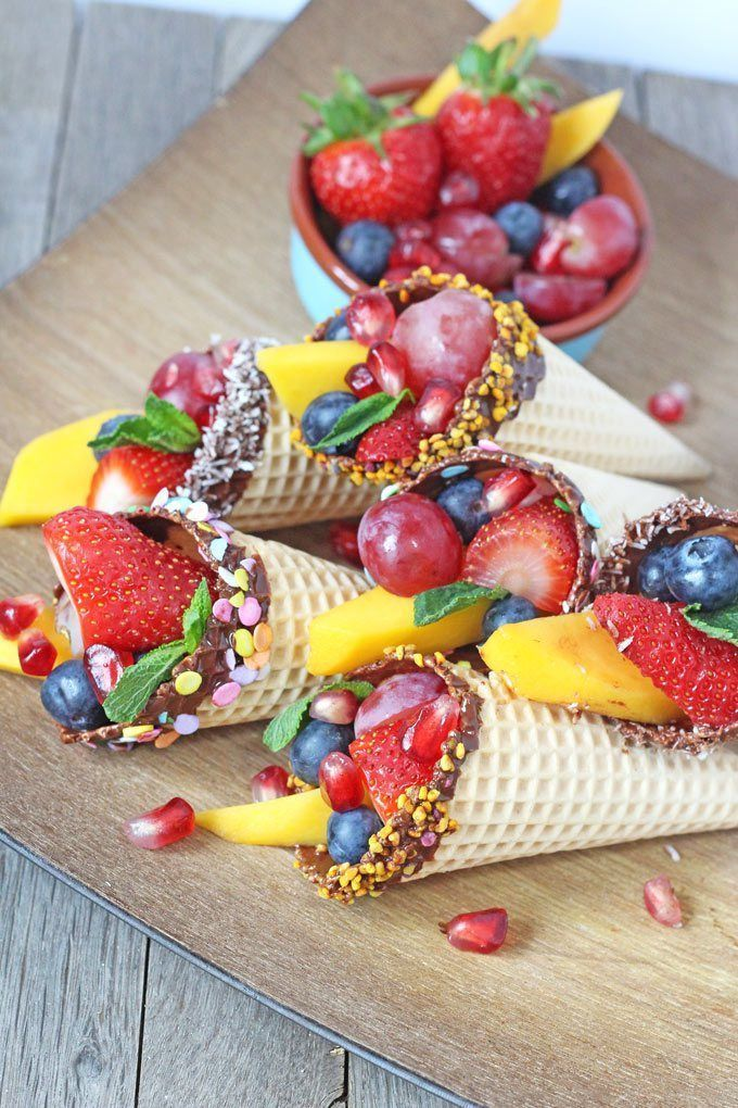 Chocolate Dipped Fruit Cones. A fantastic healthy snack for kids. Perfect for parties too!   My Fussy Eater Blog