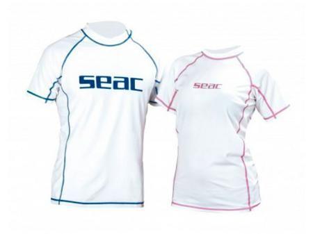 SEAC SUB Футболка seac из лайкры с короткими рукавами, белая/розовая прострочка, женская