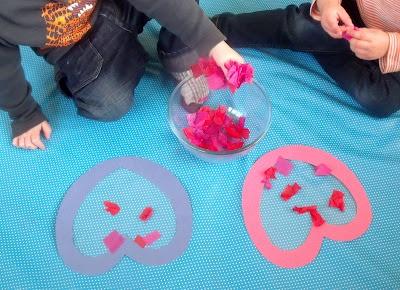 suncatchers - sensory (soft tissue paper & sticky contact paper), scissor use, fine motor