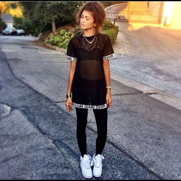 DVMN black mesh jersey Exclusive black mesh jersey from DVMN they do not sell the all black one on the website. I had to special order it in order to get the one that is exactly like Zendaya's. Worn once DVMN Tops Tees - Short Sleeve