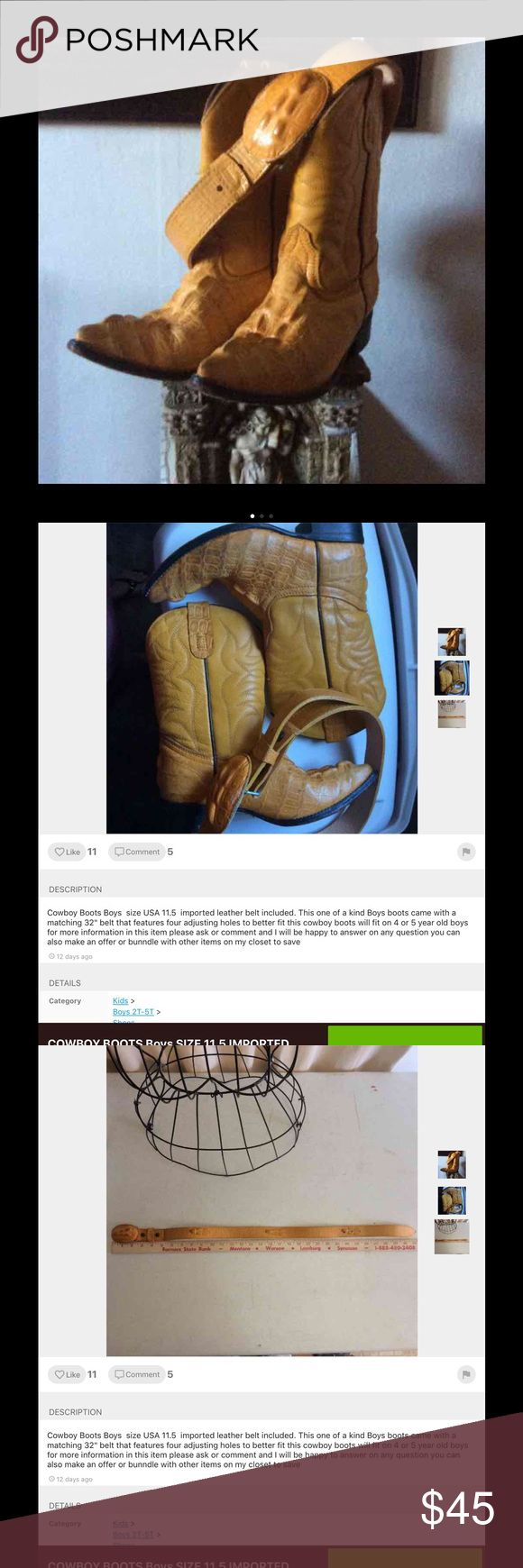 """Kids Cowboy Boots Size US 11.5 Kids Importer Size 11.5 Cowboy Boots and matching Belt  measure on belt 31"""" Shoes Boots"""